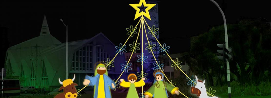 manger Medellin Christmas lights
